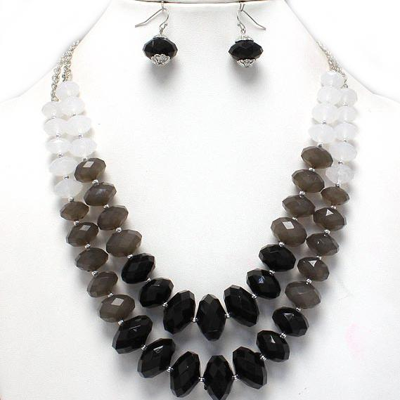 Chunky Layered Black White Silver Bead Earrings Necklace Set Costume