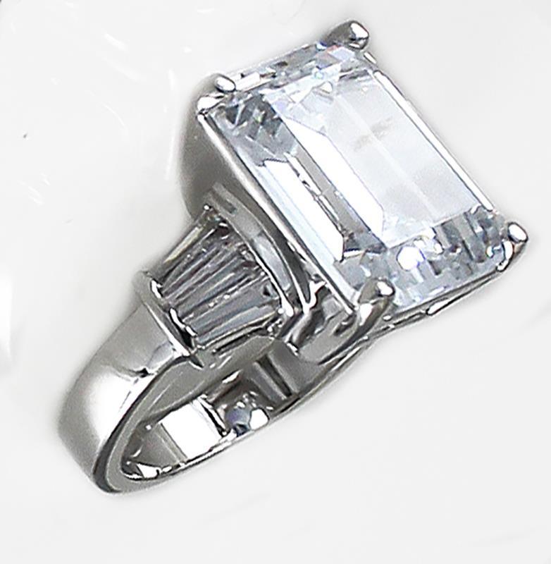 clear cubic zirconia cz emerald cut baguette engagement