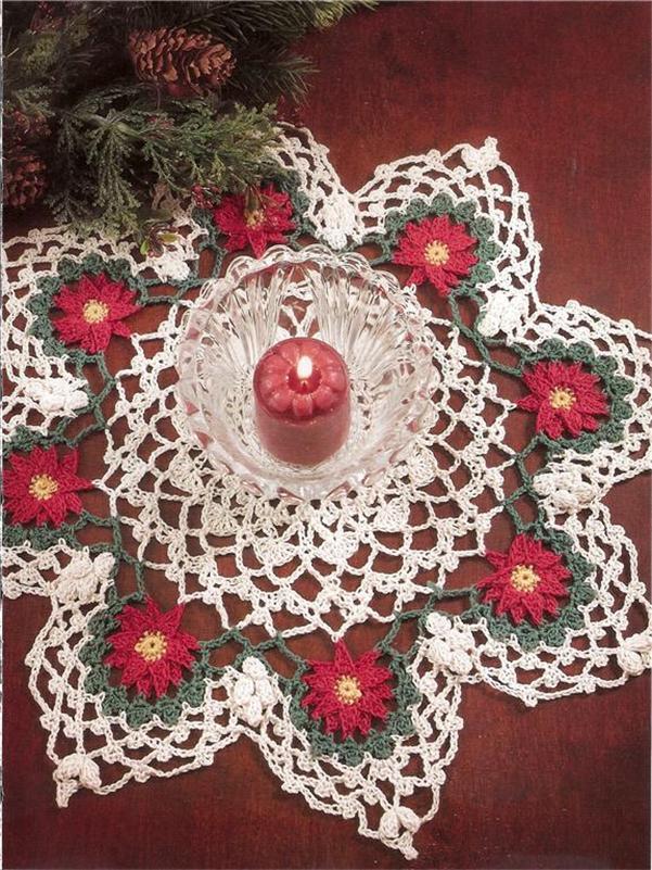 Vintage Poinsettias Doily Crochet Pattern