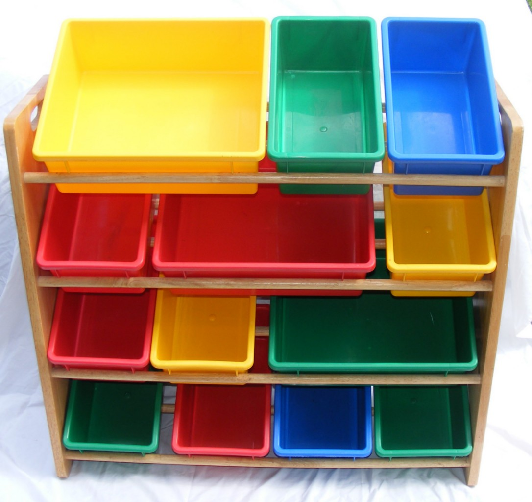 wood storage rack with 13 bins 4 shelves kid 39 s toy. Black Bedroom Furniture Sets. Home Design Ideas