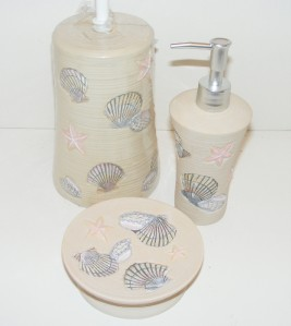11 piece sea shell bath set jubilee sea mist new nos beige