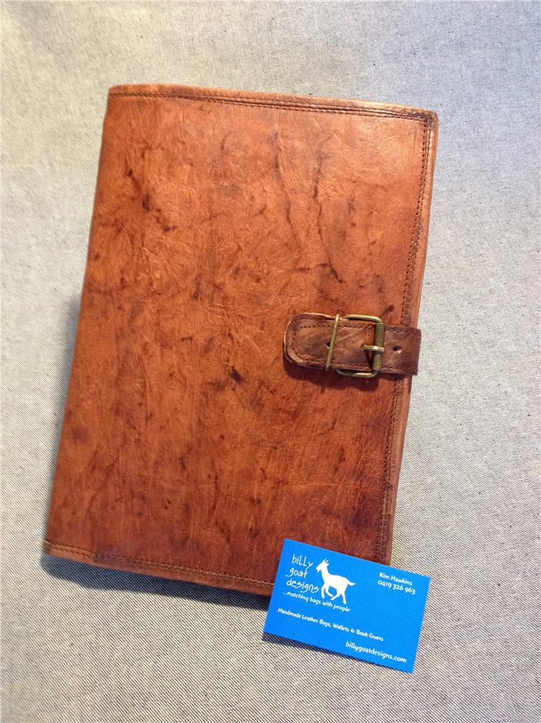 Handmade Leather Book Cover ~ Handmade goat leather a book cover bcda ipad