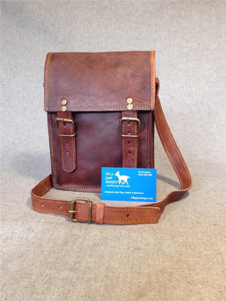 Handmade-Goat-Leather-9-034-Messenger-Bag-Satchel-MXS-P-Billy-Goat-Designs