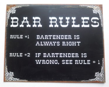 BAR RULES Pub Gameroom Garage Pub Restaurant Funny Sign