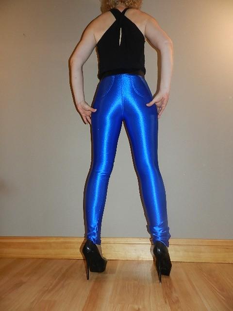 Spandex disco pants high waist shiny royal blue shimmery rocker diva trousers ebay - Diva pants ebay ...