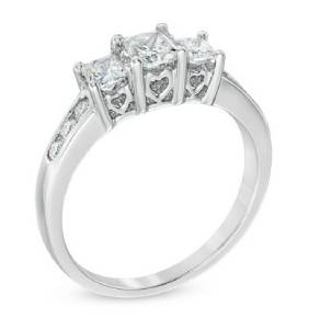 zales 1 ctw princess cut 3 14k white gold
