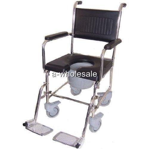 Commode Wheelchair Bedside Toilet Shower 3 In 1 Chair Made Of Stainless
