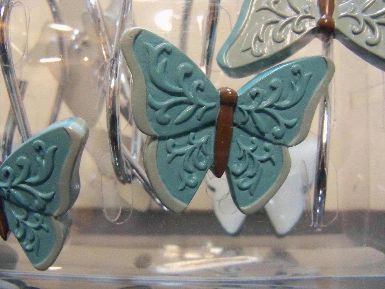 Butterfly Blessings Shower Curtain Hooks Lt Dark Aqua Ebay