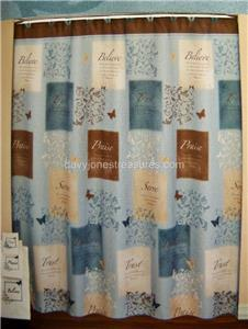 butterfly blessings shower curtain brown blue praise ebay