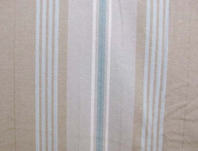 NEW 50 TIBURON STRIPE Classic Fabric Shower Curtain Grommets Tan Beige Aqua