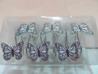 Shower Curtain Hooks Fluttering Butterflies Garden Bath Butterfly Brown Purple Ebay