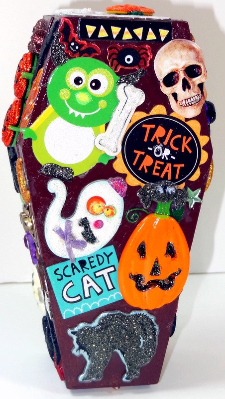 OOAK-Halloween-Night-Decorative-Wood-Coffin-Gift-Box-Card-Holder-NEW-Handmade