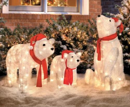 Set of 3 lighted christmas santa polar bears display for Christmas cat yard decorations