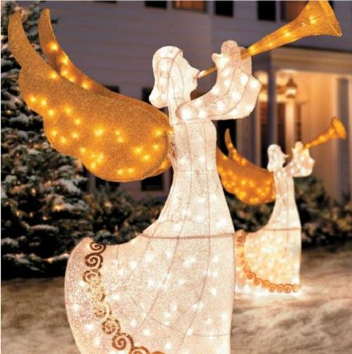 Set 2 outdoor animated lighted christmas trumpeting angels for Angel outdoor decoration