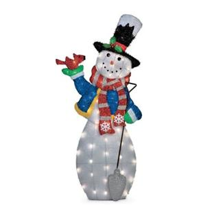 4 foot outdoor lighted pre lit christmas snowman holiday for Flat outdoor christmas decorations