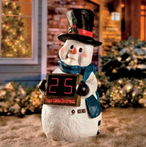 29 034 resin outdoor christmas snowman countdown clock