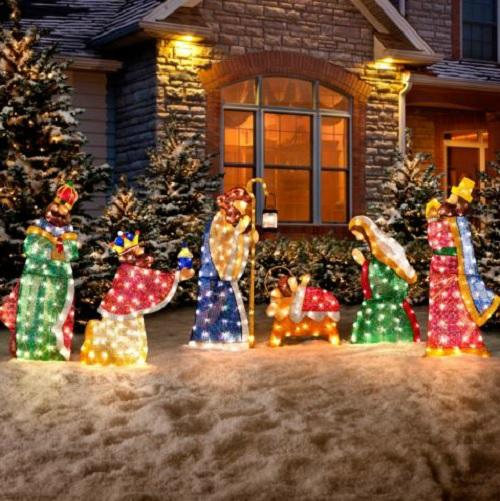 6 pc set outdoor lighted holy family wisemen nativity for Outdoor christmas scenes
