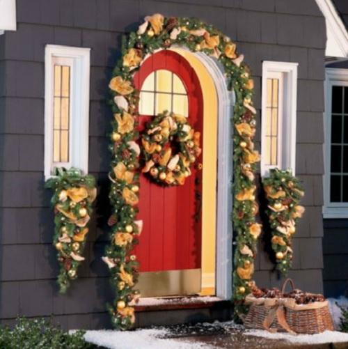 Outdoor lighted pre lit jingle bell christmas greenery Outdoor christmas garland ideas