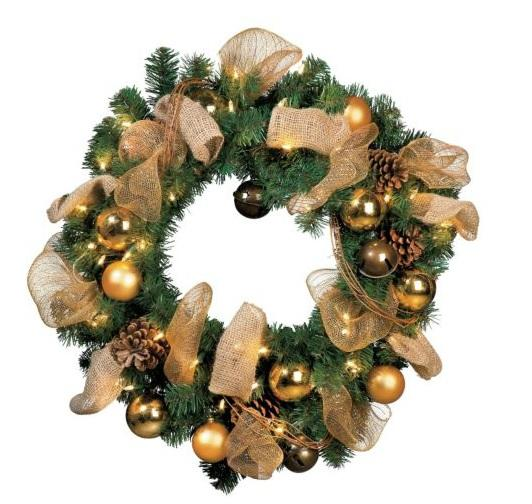 Outdoor lighted pre lit jingle bell christmas greenery for Led wreath outdoor