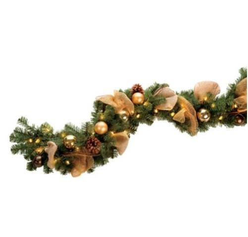 Outdoor lighted pre lit jingle bell christmas greenery for Christmas swags and garlands to make