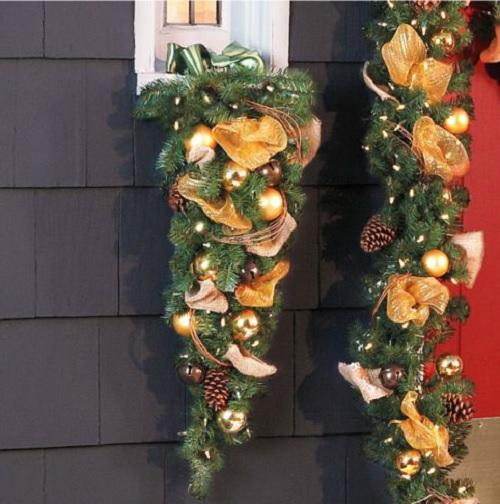 Outdoor lighted pre lit jingle bell christmas greenery wreath garland or swag ebay for Exterior christmas garland with lights