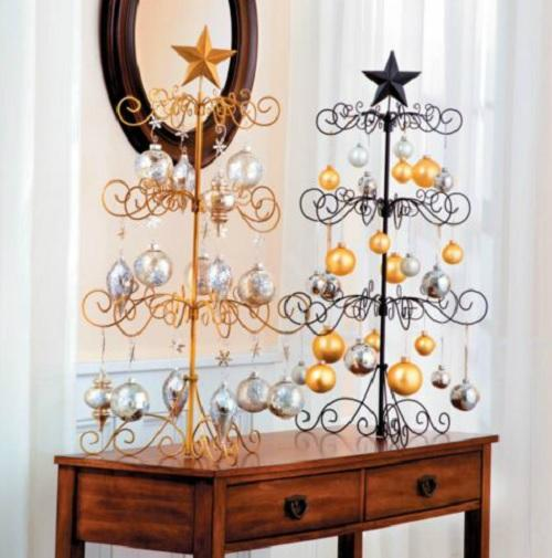 Black or gold quot metal christmas ornament display tree