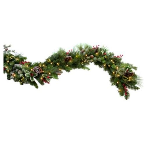 Outdoor Pre Lit HOLLY BERRY FROST CORDLESS CHRISTMAS GREENERY Holiday Decor