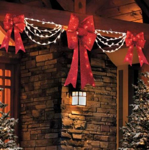Clearance outdoor lighted porch eave christmas bow swag for Christmas window decorations clearance