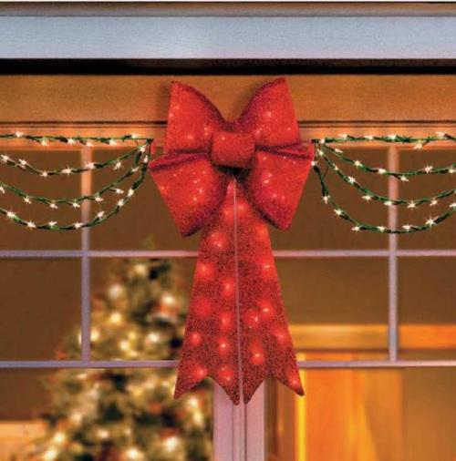 Clearance outdoor lighted porch eave christmas bow swag for Christmas decorations clearance