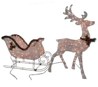 lit grapevine reindeer sleigh set outdoor christmas holiday decor. Black Bedroom Furniture Sets. Home Design Ideas