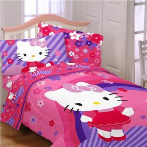 twin girls kids pink purple hello kitty comforter sheets