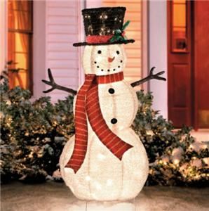 4 foot lighted pre lit christmas fluffy snowman outdoor for Pre lit outdoor decorations
