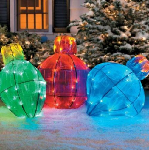 Outdoor lighted giant christmas light bulb holiday yard for Outdoor lighted christmas ornaments