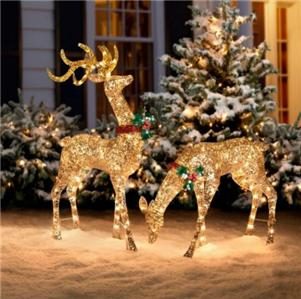 3pc outdoor lighted pre lit gold reindeer deer sleigh for Pre lit outdoor decorations