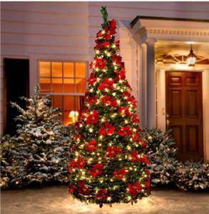 Outdoor Prelit Lighted Poinsettia Pullup Christmas Tree
