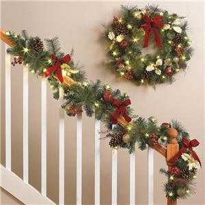 cordless lighted pre lit led wreath garland set indoor. Black Bedroom Furniture Sets. Home Design Ideas