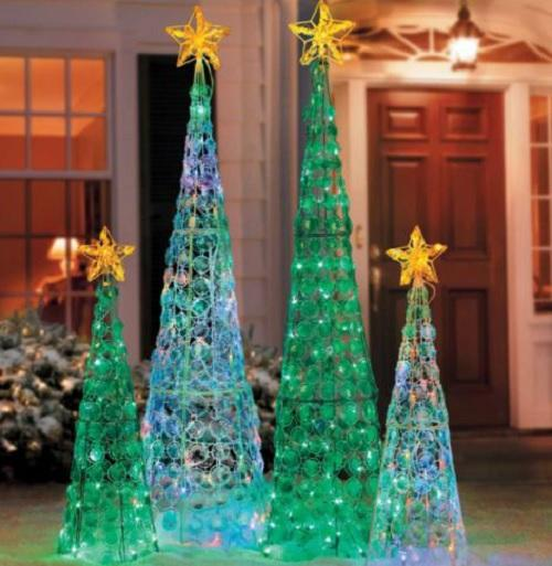 Clearance outdoor lighted cone christmas tree holiday yard for Christmas tree lawn decoration