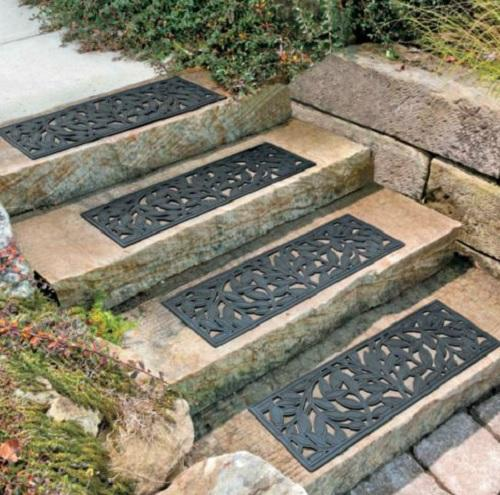 Outdoor Decorative Leaf Rubber Stair Treads Non Slip Deck