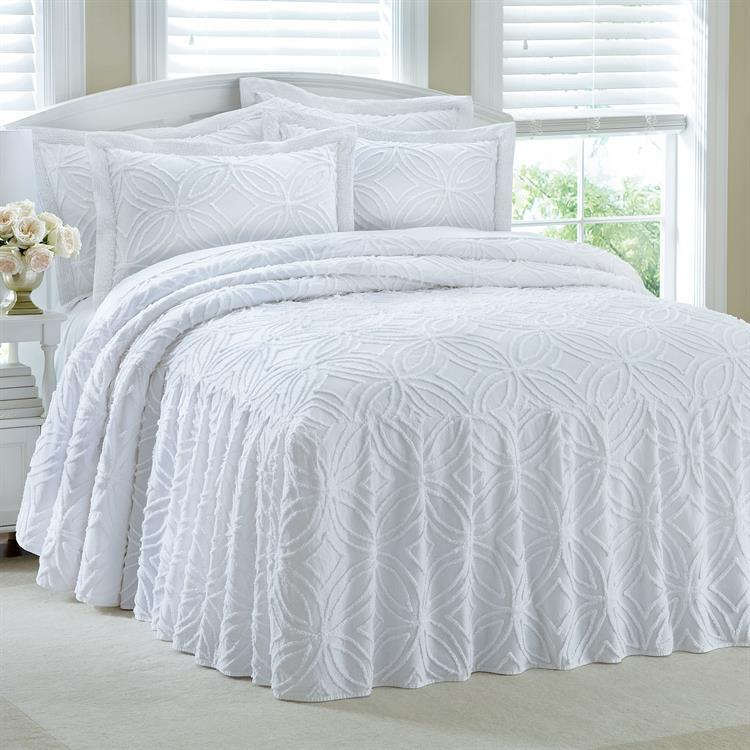 King ring pattern 100 cotton chenille bedspread bedding for Chenille bedspreads