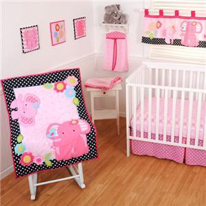baby girl pink black elephant polka dot 11pc crib bedding