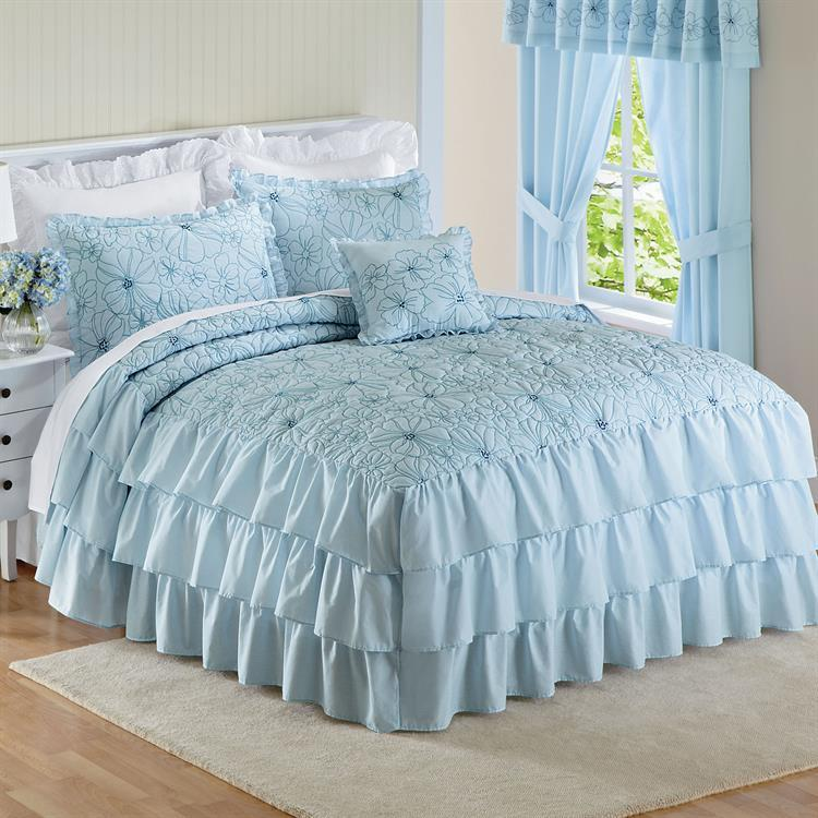 Blue romantic ruffled ruffle embroidered floral bedspread for Frilly bedspreads