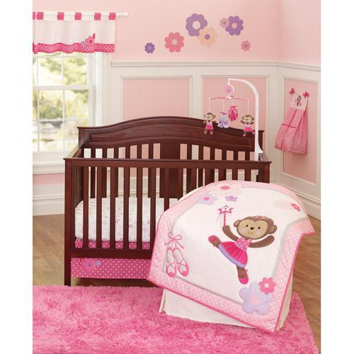 Baby Girl Pink Purple BALLET PRINCESS DANCING MONKEY Crib