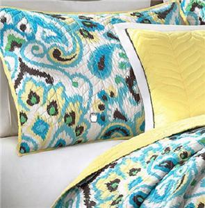 5 piece teal yellow green black modern paisley quilt coverlet bedding set ebay. Black Bedroom Furniture Sets. Home Design Ideas