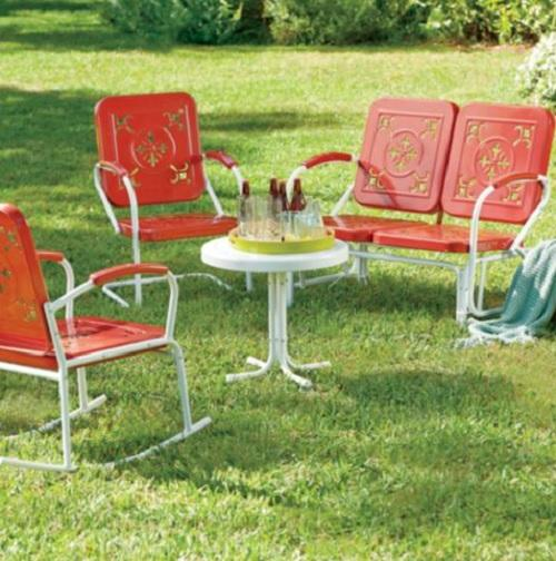Retro vintage style outdoor metal furniture lawn garden for Retro outdoor furniture