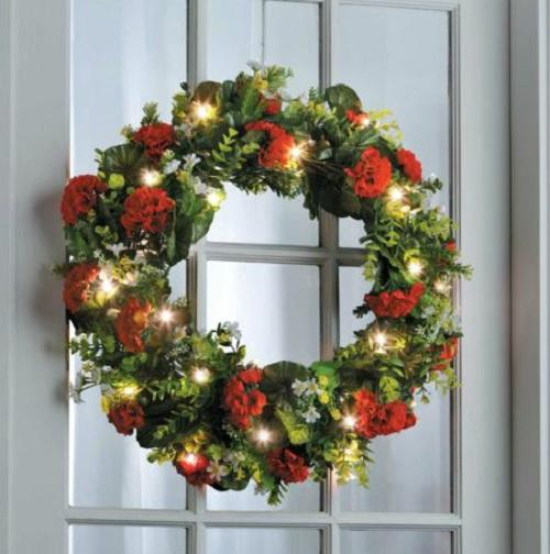lighted pre lit cordless battery operated summer wreath. Black Bedroom Furniture Sets. Home Design Ideas