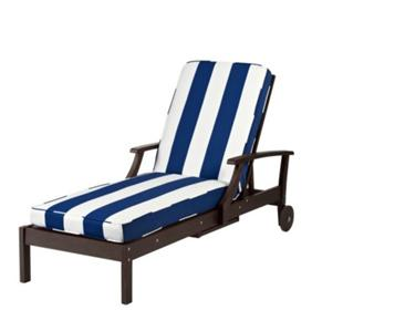 Premium outdoor replacement chaise lounge cushion blue for Blue and white striped chaise lounge cushions