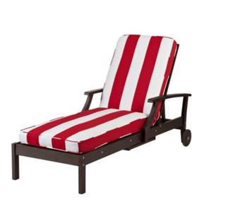 Premium outdoor replacement chaise lounge cushion red for Cabana chaise lounge