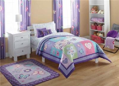 girls purple blue butterfly comforter sheets bed in a bag bedding set full size ebay. Black Bedroom Furniture Sets. Home Design Ideas