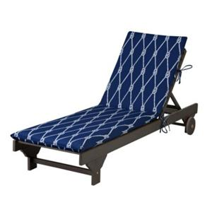 Nautical blue sailor 39 s knot outdoor chaise lounge cushion for Blue and white striped chaise lounge cushions