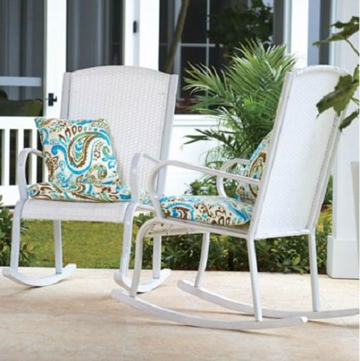 Outdoor WHITE RESIN WICKER ROCKER ROCKING CHAIR Deck Patio Garden Furniture